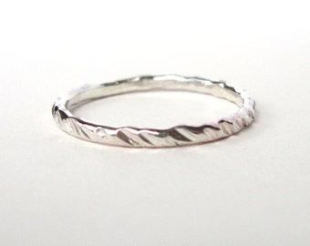 Silver Stacking Ring- Silver Ring- Stacking Rings- Hammered Ring- Simple Ring