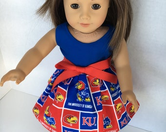 18 inch doll game day dress from University of Kansas Fabric,  made to fit 18 inch dolls such as American Girl and similar 18 inch dolls