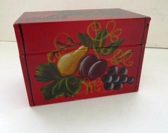 Vintage Red Metal Recipe Box - Hand Painted Fruit - Retro Kitchen - Christmas Card List Box - Address Storage Box - Red Kitchen Decor