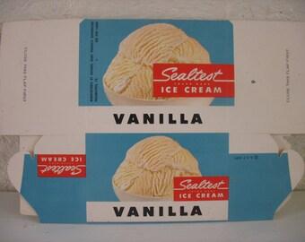 Vintage Sealtest Vanilla Ice Cream Carton - Pint