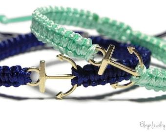 Anchor Bracelets, Anniversary Bracelets, Long Distance Gift, Couple Bracelets, Matching Bracelets, His Hers Bracelets, Friendship Bracelets