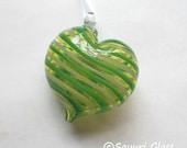 Green & White Stripe Heart Ornament : DISASTER RELIEF