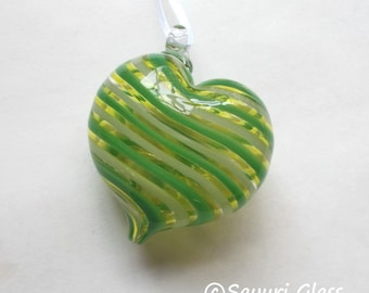 Green & White Stripe Heart Ornament : DISASTER RELIEF