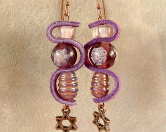 Leather, Glass, and Metal Earrings - LE41