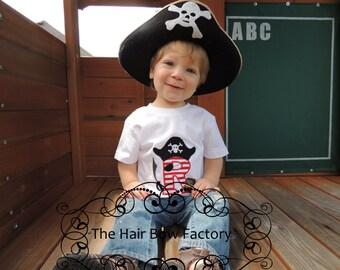 The Hair Bow Factory Applique Pirate Letter Monogram Shirt Onesie