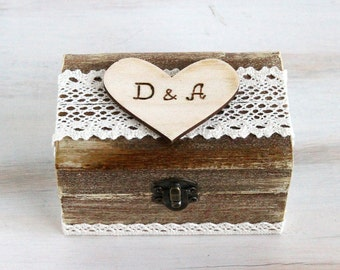 Wedding Ring Bearer Box Personalized Ring Box Rustic Ring Bearer Box Wedding Box Customizable Ring Box Ring Keepsake Box Burlap wedding box