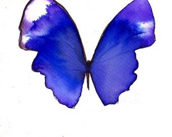 blue violet  purple butterfly original watercolour painting
