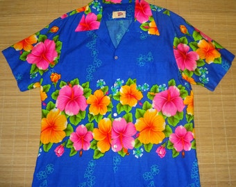 Vintage 60s Pomare Killer Floral Hawaiian Aloha Shirt - XL - The Hana Shirt Co