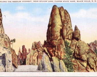 Needles Highway, Sylvan Lake, Custer State Park, Black Hills, South Dakota - Linen Postcard - Unused (A4)