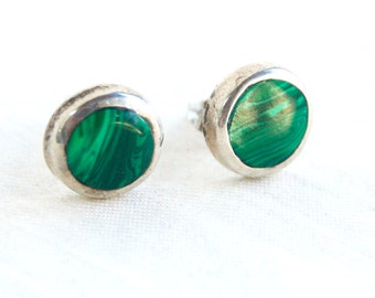 Mexican Malachite Earrings Vintage Sterling Silver Round Circle Posts Studs Modernist Jewelry