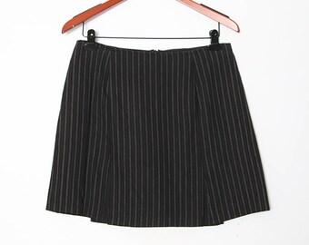 Vintage 90s Black Pin Stripe Mini Skirt