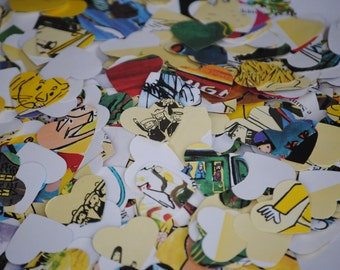1000 Children's Book Confetti, 1 inch.  Custom Orders Welcome. Hearts, France