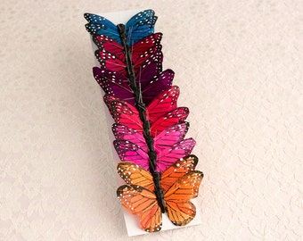 Dark Rainbow Feather Butterflies 12 Monarch Bird Feather Butterflies 3 Inch Wingspan /  Colorful Butterflies / More Colors Available!