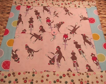 """14"""" x 14"""" PILLOW COVER - 4 Happiness Squares Vintage Sock Monkeys Play on Bubblegum Pink"""