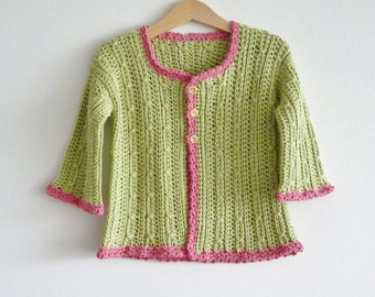 Apple green cardigan - toddler age 2 years - soft organic cotton - crochet cardigan - summer  - candy pink trim -