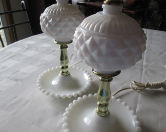 White milk glass lamp set mid century lamps hobnail diamond pattern cottage style vanity lamp set princess bedroom nursery lamps small lamps