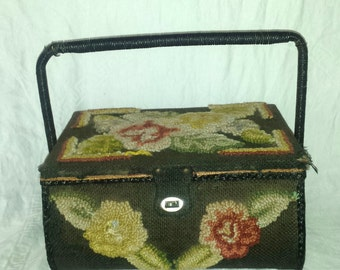 Vintage Sewing Basket with Crewel Work Decoration