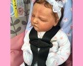 "Elena REBORN Baby Girl ""Realborn Owen Asleep Sculpt"" with Belly Plate Rooted Newborn"