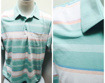 Vintage 1980s Par Four Pastel Striped Polo/Golf Shirt- XL