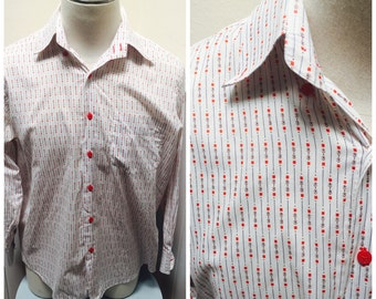 Vintage 1960s Red White & Blue Patterned Button Down Shirt, Long Sleeves- XXL