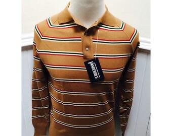 NOS/Deadstock! Vintage 1970s/1980s Men's Striped Polo Shirt- M