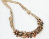 Crochet beaded linen necklace