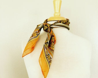 SALE // Gold Floral Scarf // Striped Orange Bandana // Brown // Vintage Fall Autumn