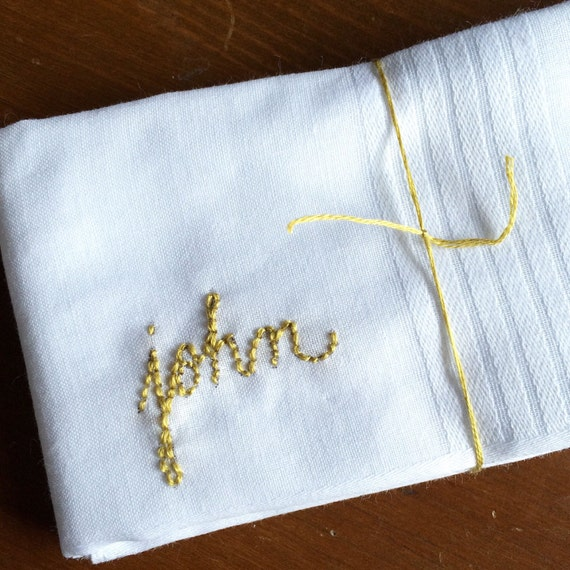 Personalized Embroidered Handkerchief // Custom Hankie // Gifts Under 20