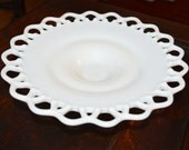 Laced Edged White Milk Glass Pedestal Candy Dish Fruit Bowl