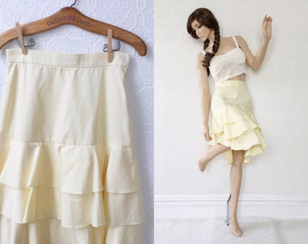 High Waisted Ruffle Skirt, Pale Yellow Dancing Skirt, Summer Twill Cotton, Fitted with Side Zip, Below Knee Length,  size Small, Vintage
