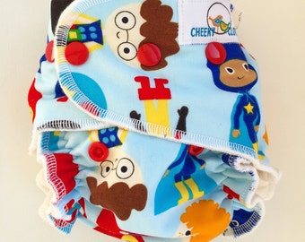 "Cheeky Cloth one size Organic Bamboo Fitted or AI2 Diaper ""Superboys"""