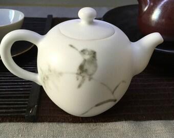 Jingdezhen China Matt-White handmade hand-painted teapot