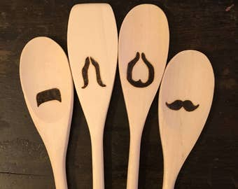 Moustache Wooden Spoons -Set of 4- Beard Mustache Chef Kitchen Gear Funny Faces Cooking Baking Utensils Christmas Gifts for Him Under 20