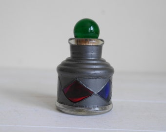 Vintage Stained Glass Bottle - Jar