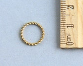 24K Gold plated Jump Ring, 24K Gold Plated Sterling Silver Jump Ring, Twisted Wire Jump Ring, Closed Ring, 12mm ( 1 piece )