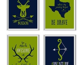 Woodland Nursery Decor Boy, Woodland Nursery Art Boy, Deer, Antlers, Arrows, Name, State, Birth Date, Be Brave, Adventure Awaits, Navy, Lime