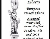Stamped S925, PAND0RA, Ale & New York ~ STaTUE of LIBERTY ~ Excellent Quality ~ Dangle Charm Bead ~ fit European Bracelet ~ MD-S925