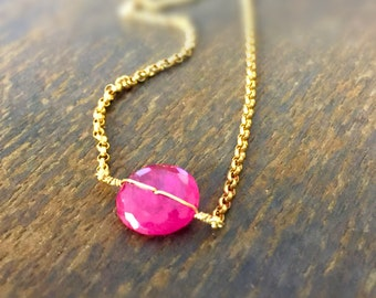 Ruby Necklace - Red Gemstone Jewelry - July Birthstone Jewellery - Gold Chain - Unique
