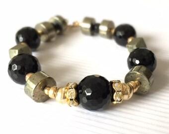 Black Onyx Bracelet - Pyrite Bracelet - Gold Jewelry - Gemstone Jewellery - Crystal - Chic - Luxe