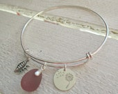 "Rare Sea Glass Sterling Silver Bangle Bracelet ""Wishing for The Beach"""