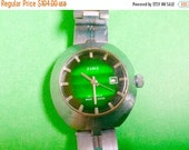 WATCH CLEARANCE EVENT Women's russian watch Soviet Zaria womens vintage russian wrist watch export edition bright green dial 22 jewels
