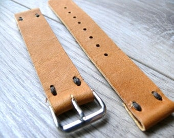 16mm watch strap Camel Brown leather watch band, Handmade leather watch strap, light brown genuine leather watch strap 16mm watch band