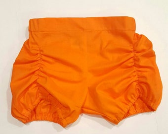 Orange Ruched Shorts