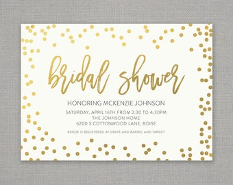 Bridal Shower Invitation  //  Cream Gold Confetti