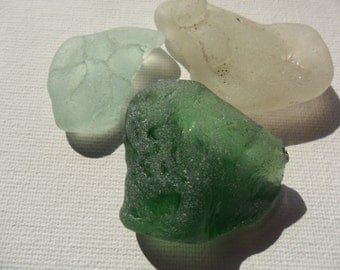 Green, white & seafoam bonfire sea glass - Very pretty English beach find pieces