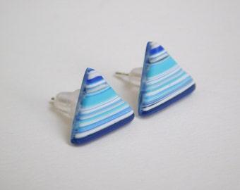 Triangle Stud Earrings, polymer clay jewelry, blue striped studs