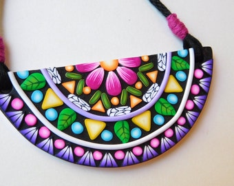 Mandala Necklace with Kumihimo braided cord, polymer clay jewelry