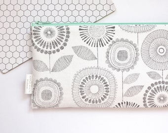 Zipper Pouch, Pencil Pouch, Pencil Case, Gray, Floral, White, Mint, College, Kids, School Supplies, Teens, Women, Organize