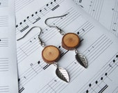Natural Wooden Rustic Dangle Earrings - Larch Wood and pewter leaf charm - Simple and stunning