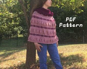 Stranded Knitting Capelet Poncho Ruffle Pattern PDF Digital Experienced Beginner